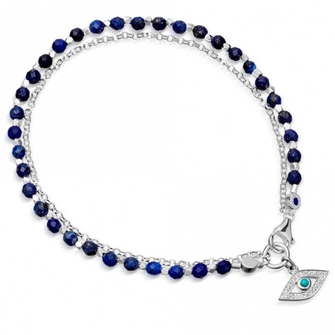 Lapis Evil Eye Biography Silver Bracelet