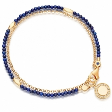 Lapis Faceted Nugget Biography Bracelet
