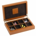 Leather Cufflink Box in Tan with Skull Detail