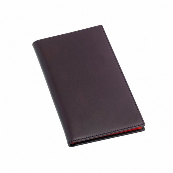 Leather Gents Chequebook Wallet in Burgundy