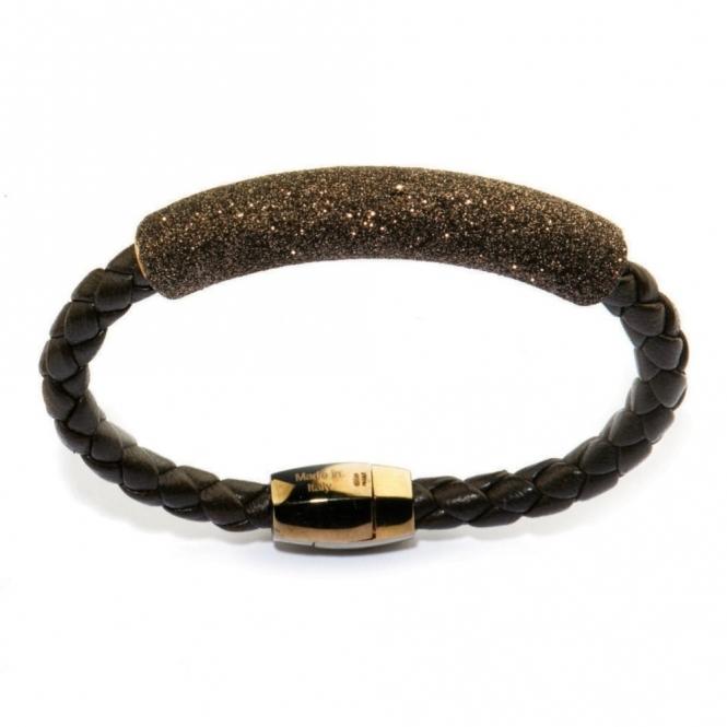 Leather & Pink Gold Polvere di Sogni Brown Glitter Bracelet