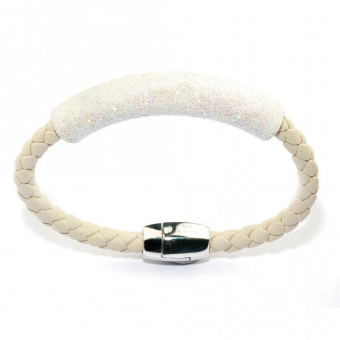 Leather & Rhodium Polvere di Sogni White Glitter Bracelet