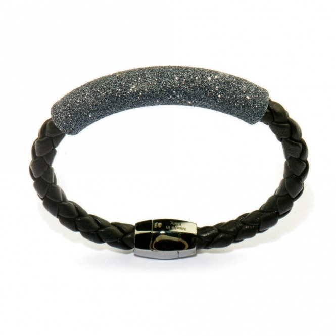 Leather & Ruthenium Polvere di Sogni Black Glitter Bracelet