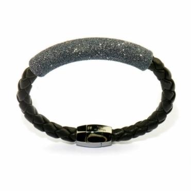Leather & Ruthenium Polvere di Sogni Black Glitter Bracelet