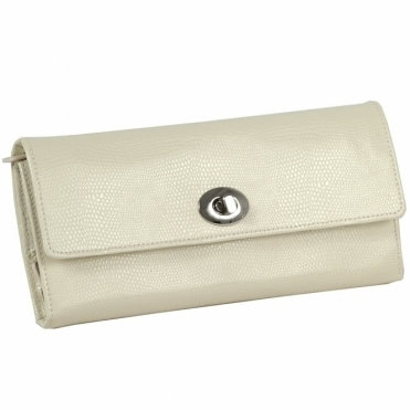 London Jewellery Roll in Cream Lizard Embossed Leather