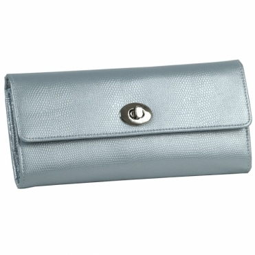 London Jewellery Roll in Ice Lizard Embossed Leather