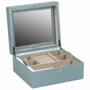 London Square Jewellery Box in Ice Lizard Embossed Leather