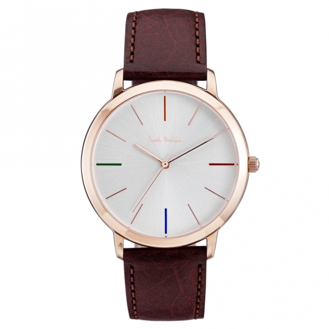 Ma Gold PVD Watch with Silver Dial Coloured Indices & Brown Leather Strap