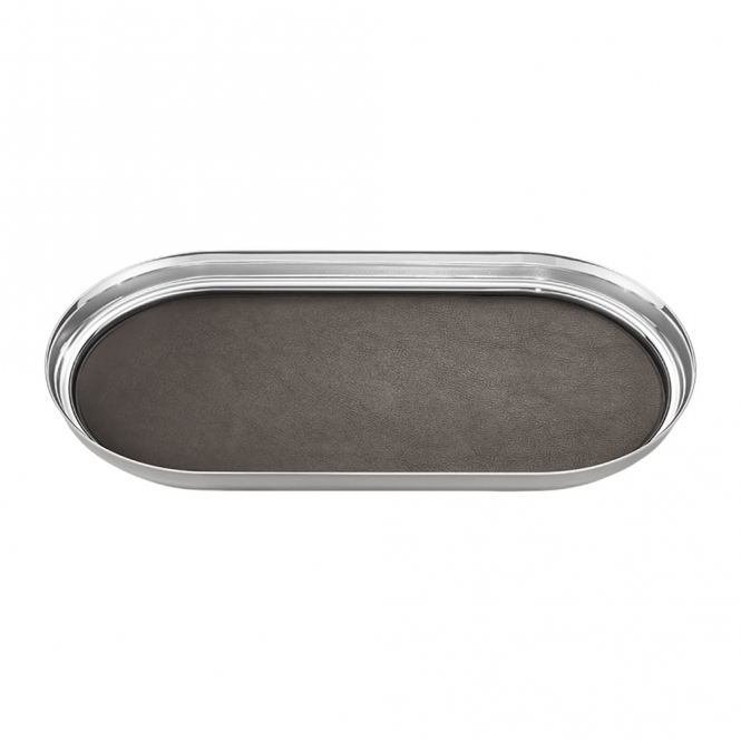 Manhattan Stainless Steel and Leather Tray
