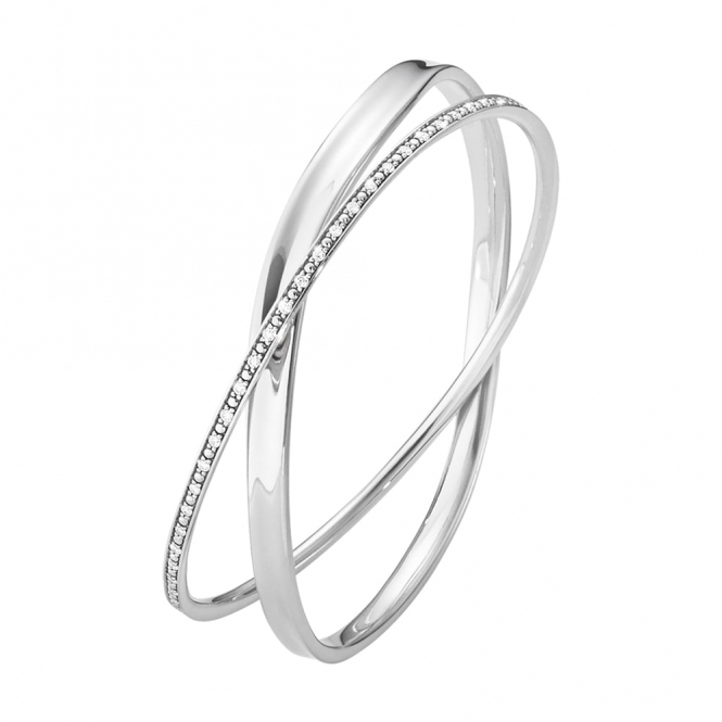 Marcia Sterling Silver Diamond Double Bangle