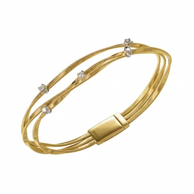 Marrakech 18ct Yellow Gold Diamond Set Bangle