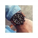 Maverick Black 45mm Quartz Chronograph with Vintage Strap