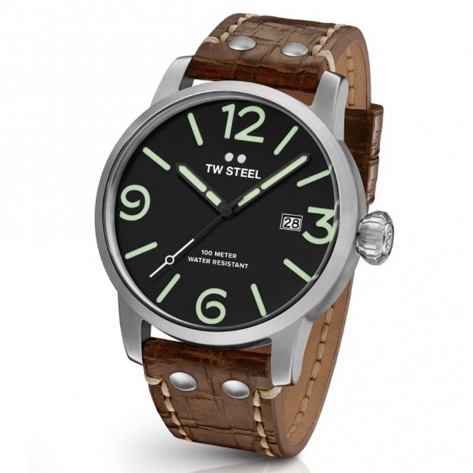 Maverick Brushed Stainless Steel 45mm 3 Hands Watch.