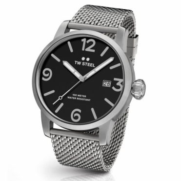 Maverick Brushed Stainless Steel 45mm Quartz 3 Hands Watch