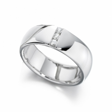 Mens 18ct White Gold Diamond Ring
