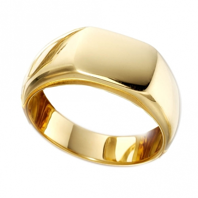 Mens 18ct Yellow Gold Cushion Signet Ring