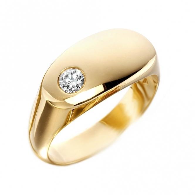 Wharton Goldsmith Mens 18ct Yellow Gold Oval Diamond Set Signet Ring
