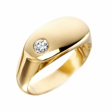 Mens 18ct Yellow Gold Oval Diamond set Signet Ring