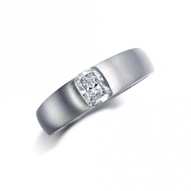 Mens Wedding Ring.Mens Platinum Radiant Cut Engagement Ring