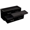 Meridian Two Drawer Valet Charging Station and Pen Box in Black Lacquer