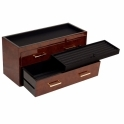 Meridian Two Drawer Valet Charging Station and Pen Box in Burl Wood and Brass