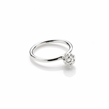 Mini Globe 8mm Silver Ring