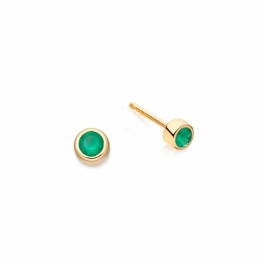 Mini Green Agate Stilla Stud Earrings