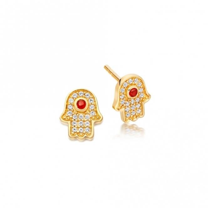 Mini Hamsa Biography Stud Earrings