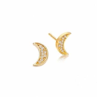 Mini Moon Biography Stud Earrings
