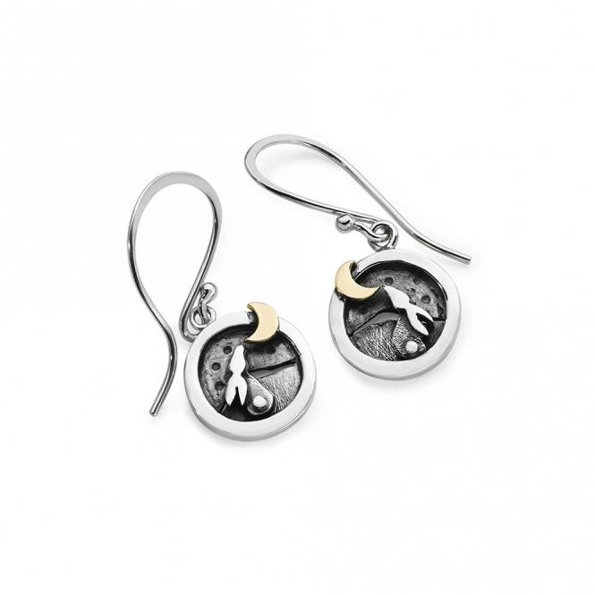 Moondance Drop Earrings with Rabbit & Moon