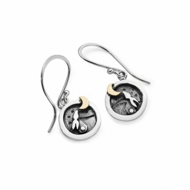 Moondance Drop Earrings with Rabbit & Moon