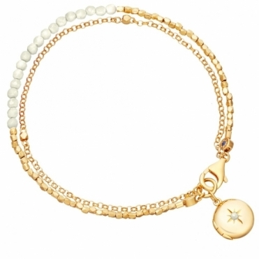 Moonstone Locket Biography Bracelet