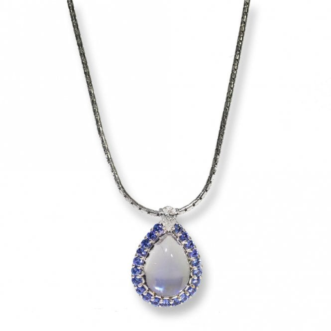 Moonstone sapphire and diamond pendant