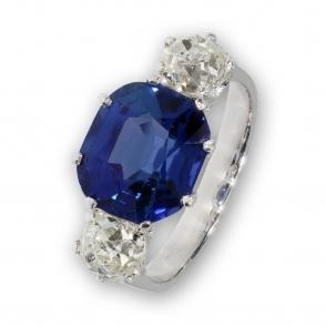 Natural blue Sri Lankan Sapphire and diamond three stone ring