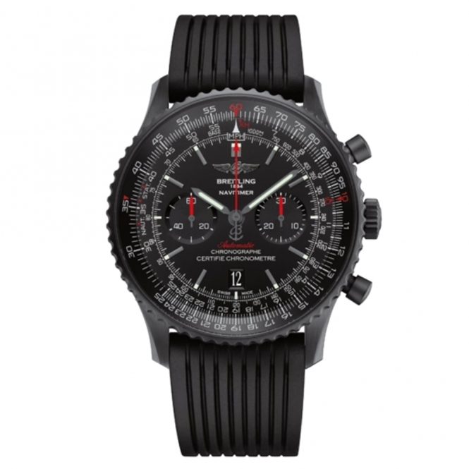 Navitimer 01 Chronograph Blacksteel with Crystal Back and Black Rotor