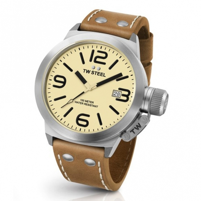 New Canteen 45mm Quartz Watch with Cream Dial and Brown Strap