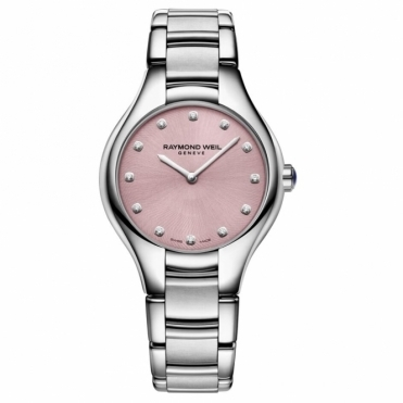 Noemia 34mm Quartz  Bracelet Watch with Rose Dial and Diamond Hours