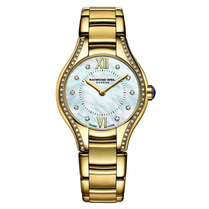Noemia ladies quartz watch in yellow gold PVD with diamonds