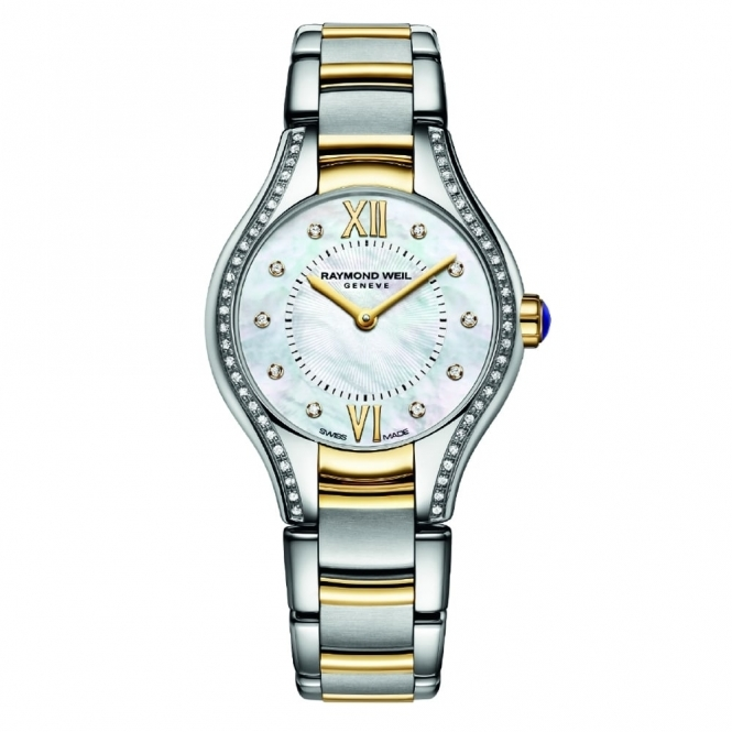 Noemia Steel and Gold ladies Quartz Watch with Diamond Surround