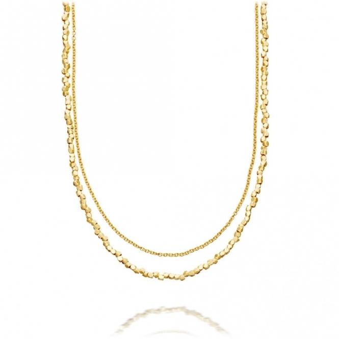 Nugget Detail Biography Gold Double Necklace