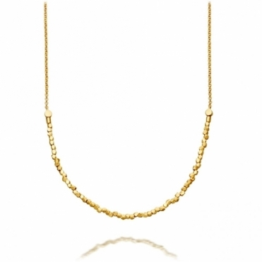 Nugget Detail Biography Gold Necklace