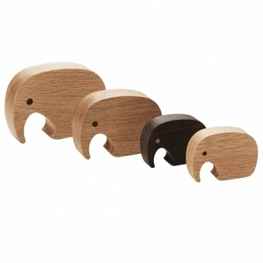 Oak & Wenge Wood Elephant Figurines (Four Pieces)