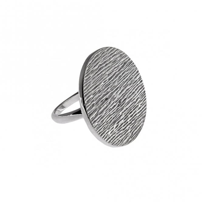 Ocean Sterling Silver Large Disc Ring