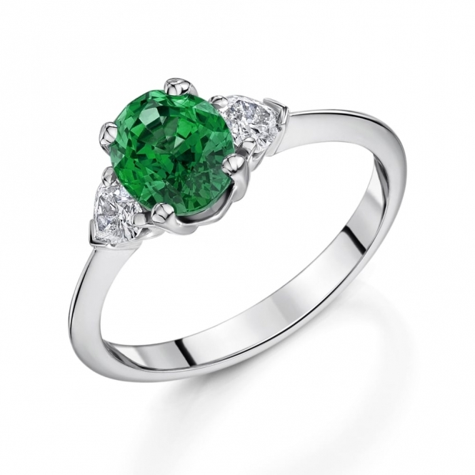 Oval Emerald and Heart Diamond set Ring