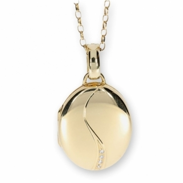 Oval hinged diamond locket