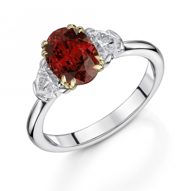 Oval Ruby and Heart Diamond Ring