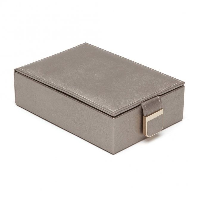 Palermo Travel Jewellery Box in Pewter Smooth Pebble Leather