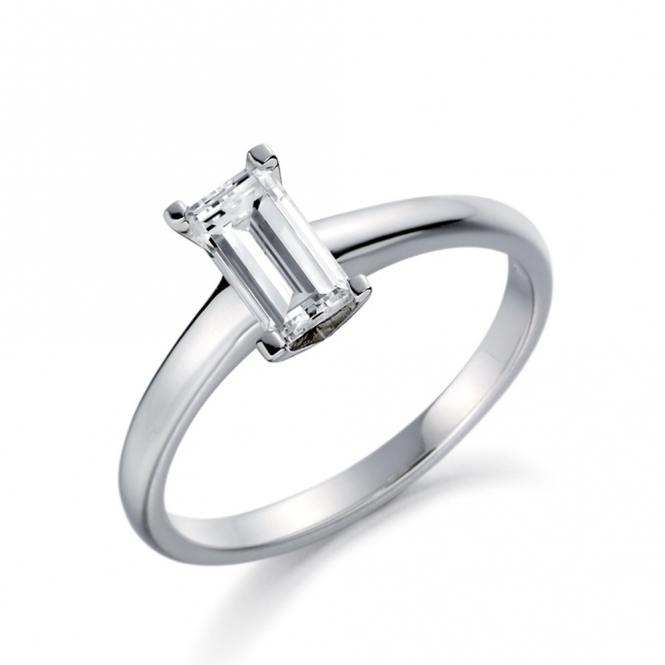 Palladium Baguette Diamond Solitaire Ring 1V11A