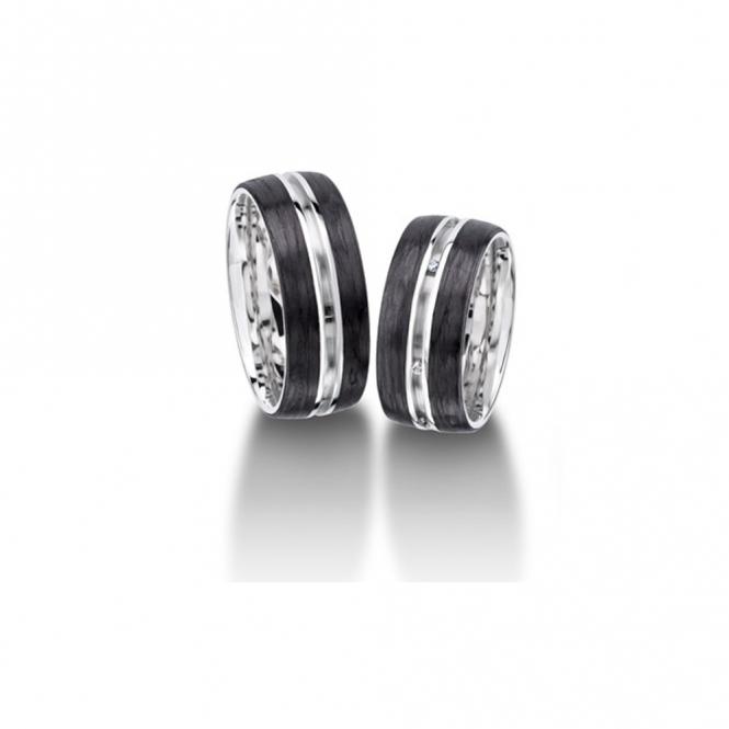 Palladium & Carbon Wedding Rings