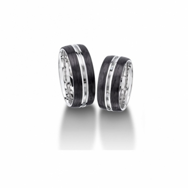 Palladium & Carbon Wedding Rings